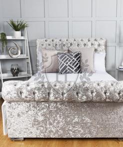 sleigh bed crushed velvet2