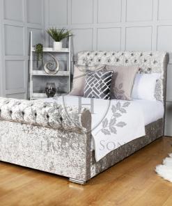 sleigh bed crushed velvet