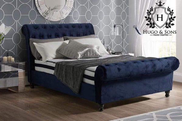 sleigh blue plush velvet