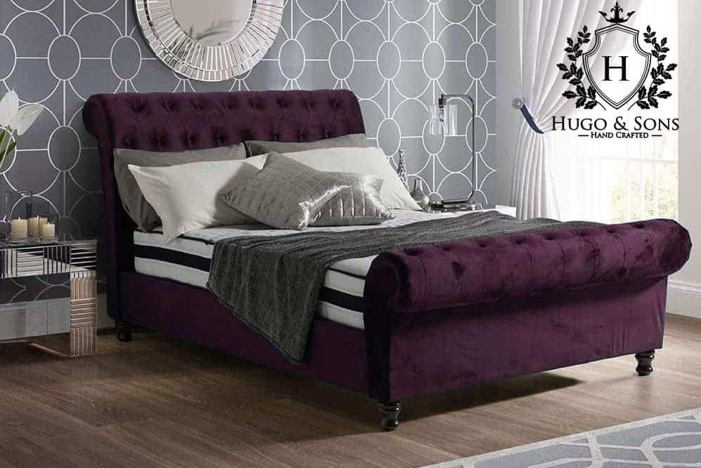 The Sleigh Bed Plain Velvet Hugo Amp Sons Bedroom Furniture