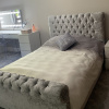 crushed velvet sleigh bed