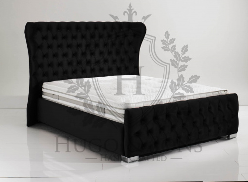 black oxford wing back bed