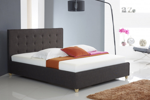 Charcoal Fabric Buttoned Ottoman Storage Bed