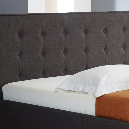 Charcoal Fabric Buttoned Ottoman Storage Bed 3