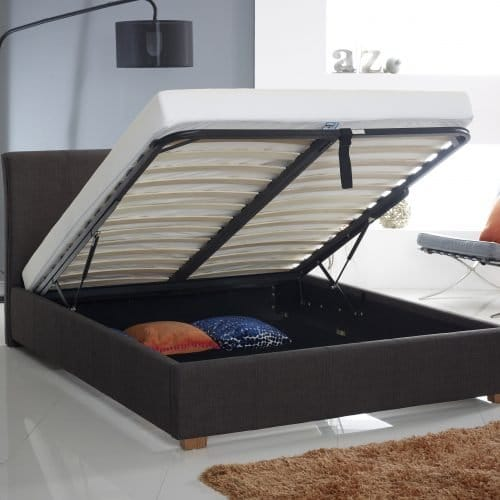 Charcoal Fabric Buttoned Ottoman Storage Bed 4