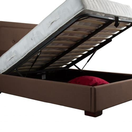 Brown Ottoman Storage Fabric Bed 2