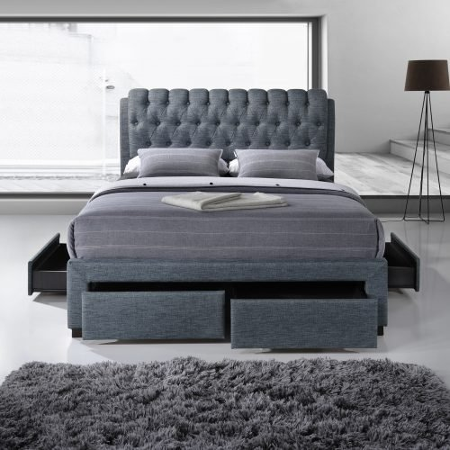 Dark Grey Buttoned Fabric Upholstered Drawer Bed 2