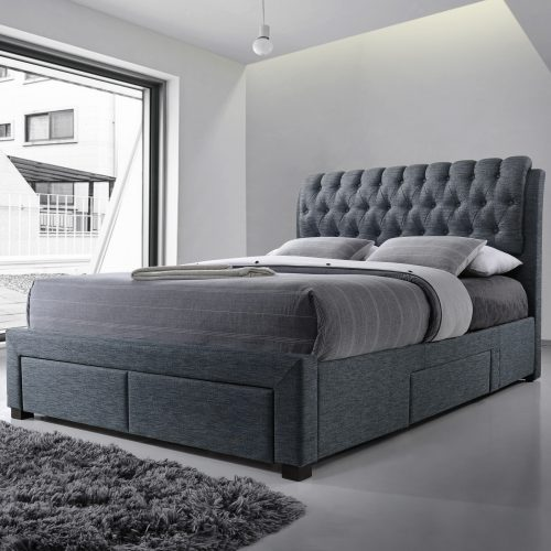 Dark Grey Buttoned Fabric Upholstered Drawer Bed