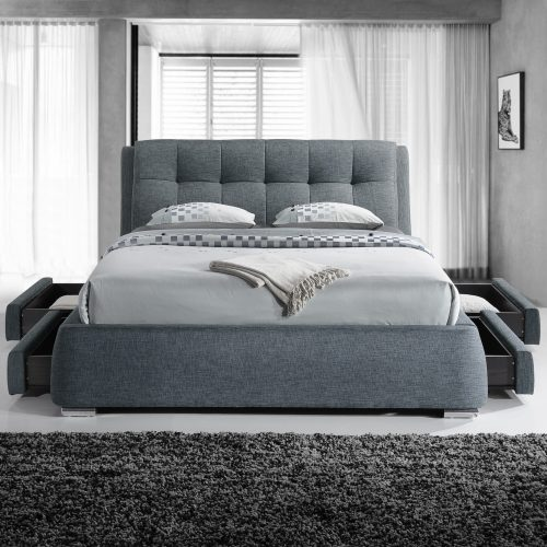 Dark Grey Square Buttoned Fabric Drawer Bed