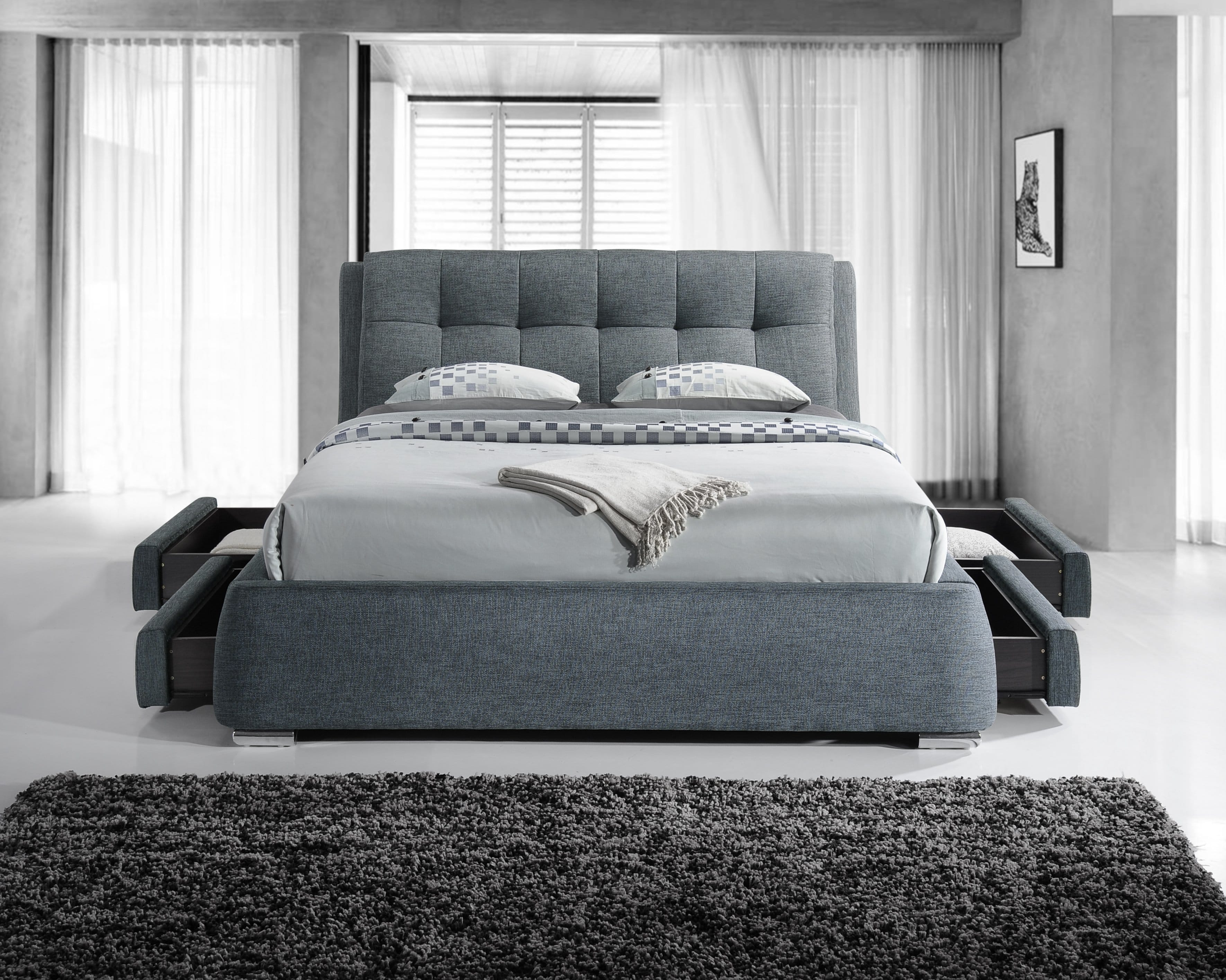 Dark Grey Square Buttoned Fabric Drawer Bed Hugo Amp Sons