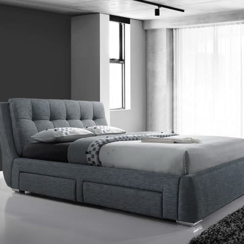 Dark Grey Square Buttoned Fabric Drawer Bed 2