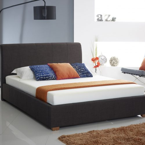 Designer Charcoal Fabric Ottoman Storage Bed