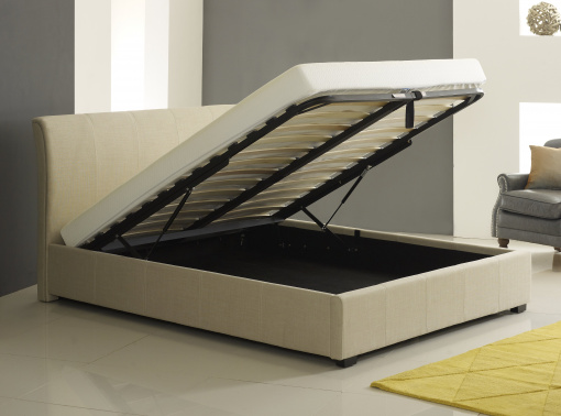 Designer Cream Fabric Ottoman Storage Bed 2