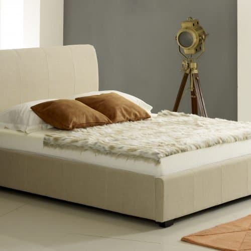 Designer Cream Fabric Ottoman Storage Bed