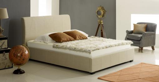 Designer Cream Fabric Ottoman Storage Bed