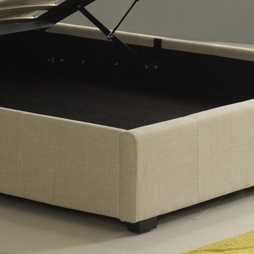 Designer Cream Fabric Ottoman Storage Bed 3