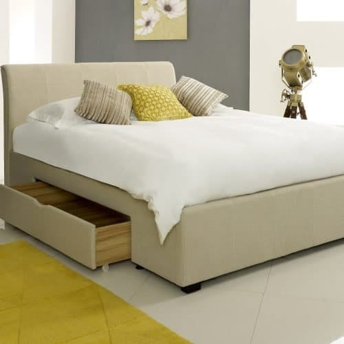 Classic Cream Fabric Drawer Bed 2