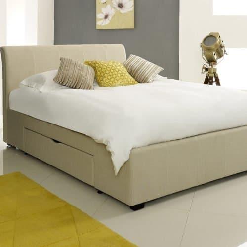 Classic Cream Fabric Drawer Bed