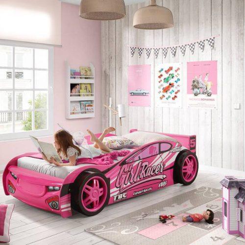 PINK-CAR-BED-Girls-Racing-Car