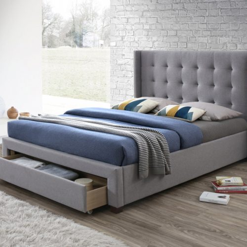 Grey Winged Fabric Bed with One Large Front Drawer