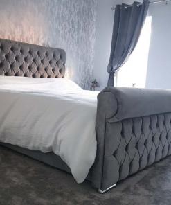 sleigh bed upholstered foot customer 2