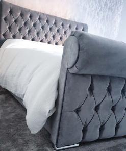 sleigh bed upholstered foot customer